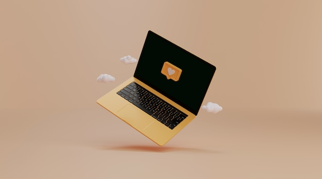 Laptop met melding op sociale media.