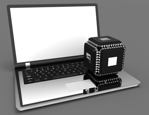 Laptop met multicore krachtig chipconcept. 3d illustratie