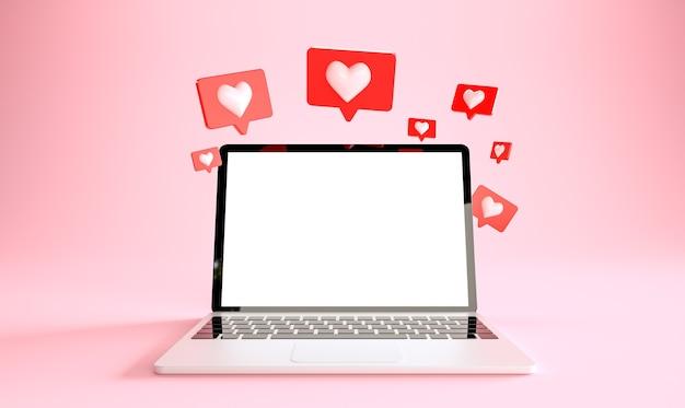 Laptop met veel zoals meldingen social media concept 3d-rendering