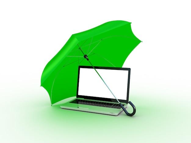 Laptop onder groen een paraplu. 3d illustratie