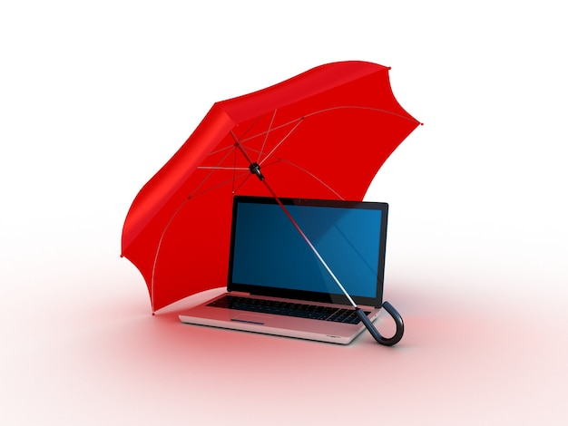 Laptop onder rood een paraplu. 3d illustratie