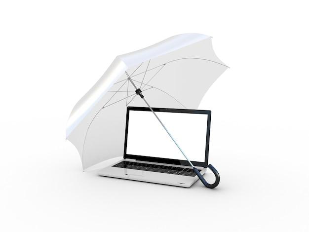 Laptop onder wit een paraplu. 3d illustratie
