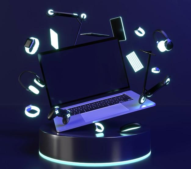 Laptop op standaard met neonlicht