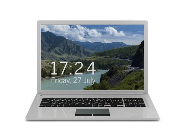 Laptop op wit. geïsoleerde 3d-afbeelding