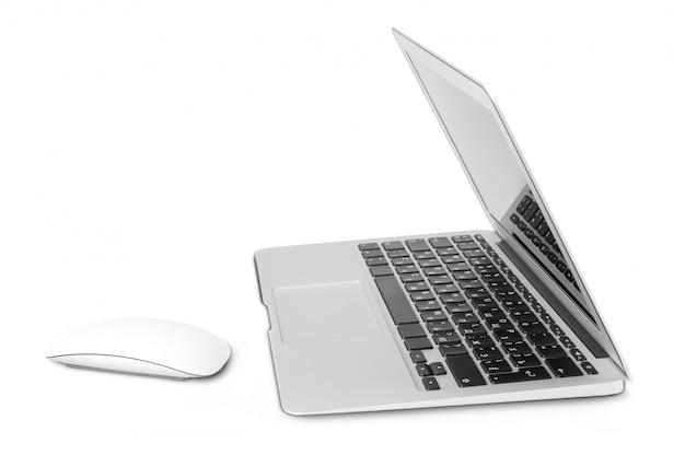 Laptop op wit wordt geïsoleerd dat