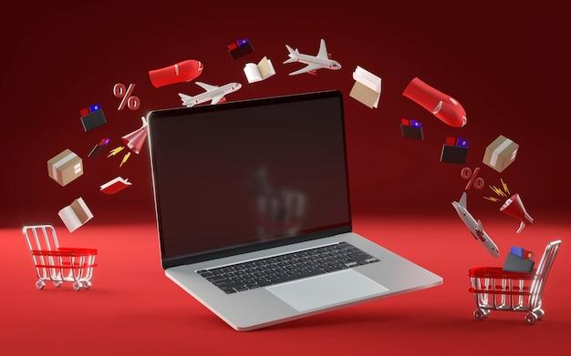 Laptop pictogram voor zwarte vrijdag evenement