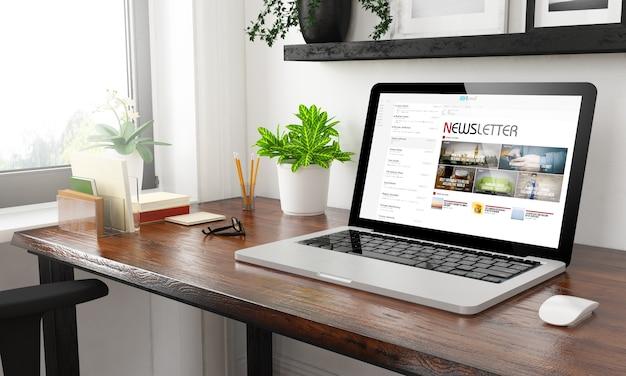 Laptop thuis kantoor nieuwsbrief 3d-rendering