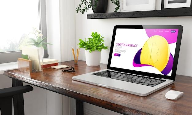 Laptop thuiskantoor cryptocurrency 3d-rendering