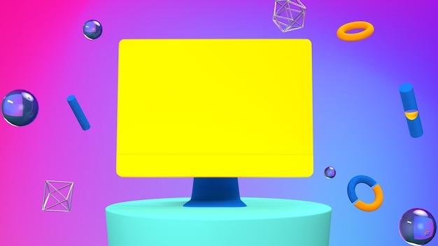 Laptop tweekleurige achtergrond mock