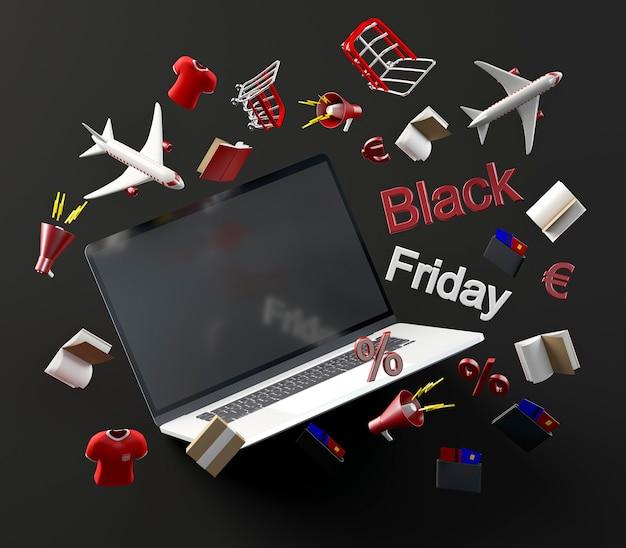 Laptop voor het winkelen op zwarte vrijdag