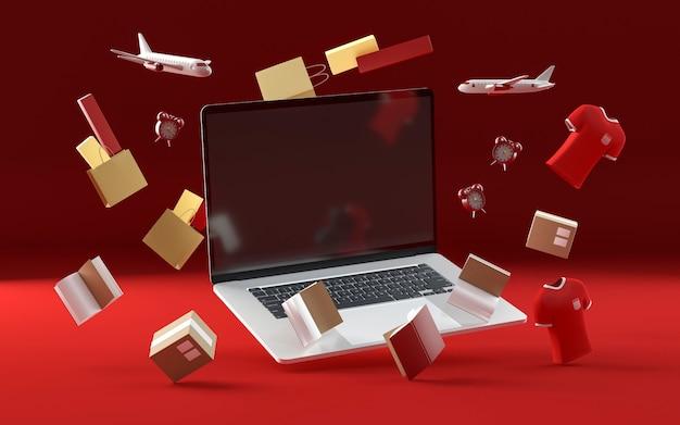 Laptop voor zwarte vrijdag shopping-evenement