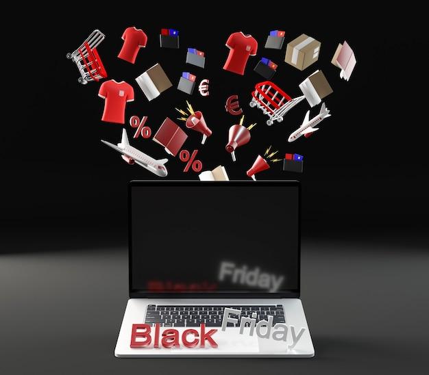 Laptop voor zwarte vrijdagevenement