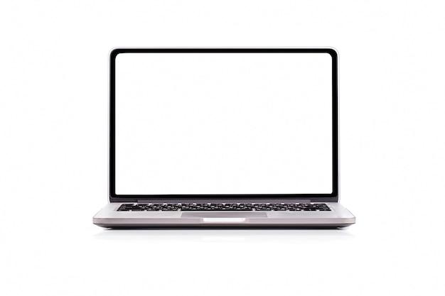 Laptopcomputer met leeg scherm geïsoleerd op een witte achtergrond