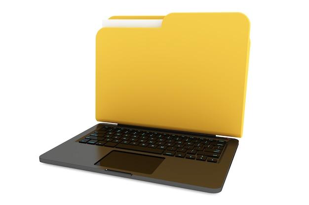 Laptopcomputer met map als scherm op een witte achtergrond