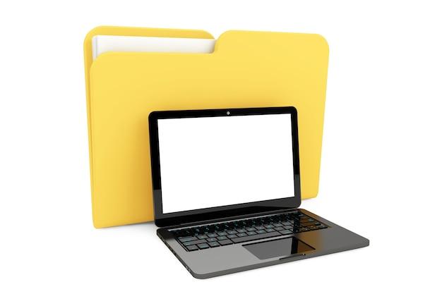 Laptopcomputer met map op een witte achtergrond