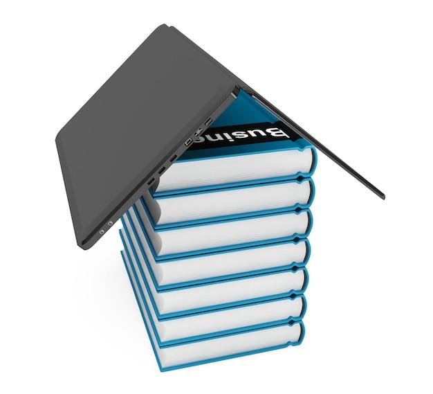 Laptopcomputer met stapel boeken op een witte achtergrond
