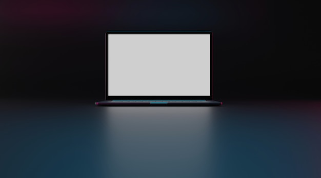 Laptopcomputer met wit scherm. 3d-weergave.
