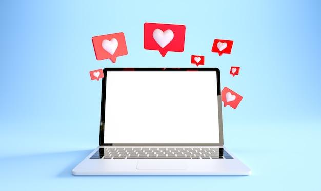 Laptopmodel met veel zoals meldingen bij blauwe achtergrond sociale media concept d rendering Premium Foto