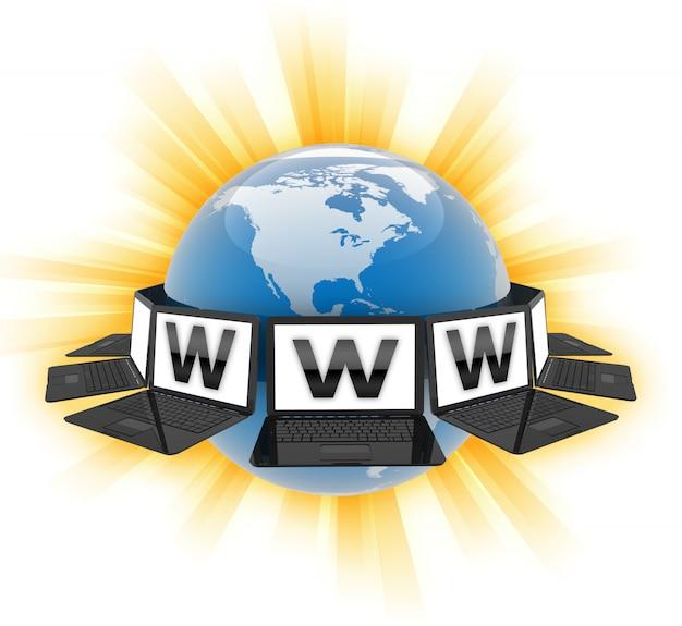 Laptops die van world wide web de wereld omringen - het 3d teruggeven