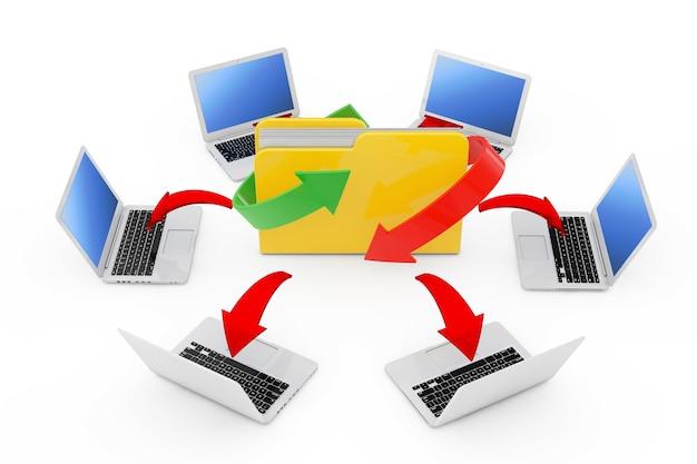 Laptops gerangschikt in een cirkel rond map met gloeiende rode pijlen verbindingen op een witte achtergrond. 3d-rendering