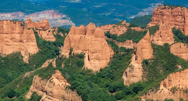 Las medulas, oude romeinse goudmijnen in leon, castilla y leon. spanje. panoramische fotografie