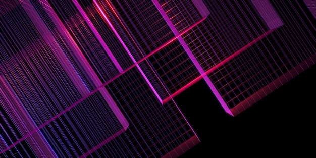 Laserraster paarse gloed rood en blauw 3d illustratie