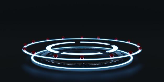 Laserring digitale neon hologram cilinder met deeltjes en glanzende ringen in een donkere kamer