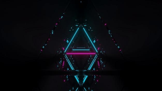 Lasershow van gloeiende lijnen van neonlichten met een zwarte achtergrond