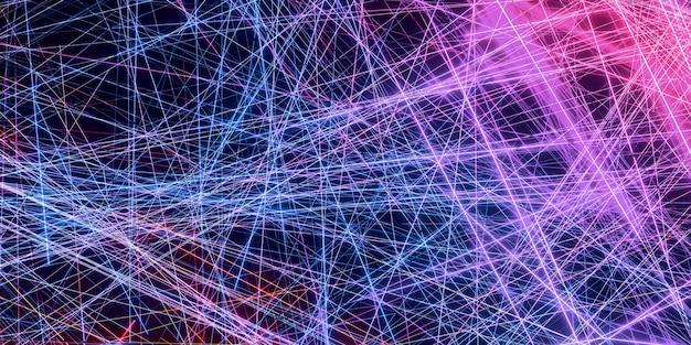 Laserstraaleffect op een zwarte 3d-illustratie als achtergrond