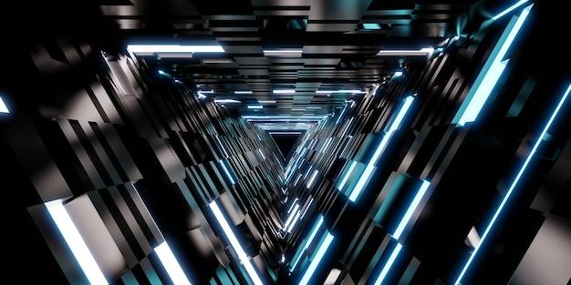 Lasertunneltechnologie driehoekige gangdeur van neonlicht 3d illustratie