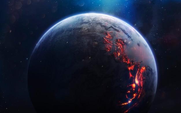 Lava planeet. deep space-afbeelding, sciencefictionfantasie in hoge resolutie, ideaal voor behang en print. elementen van deze afbeelding geleverd door nasa