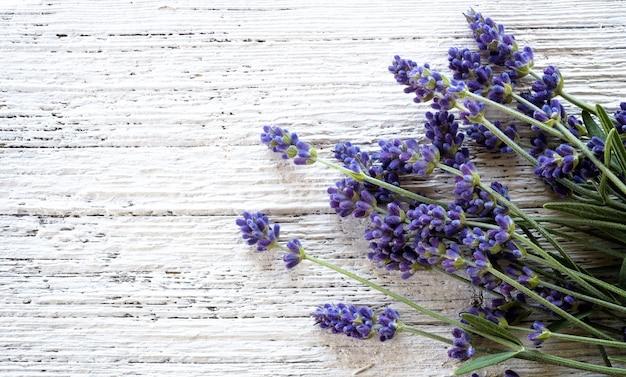 Lavendel bloemen op witte houten gestructureerde achtergrond, bovenaanzicht.