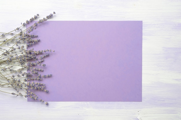 Lavendelbloem over de purpere achtergrond tegen de houten textuur