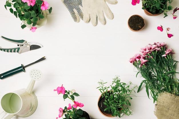 Lay-out van bloemen en benodigdheden voor tuinieren