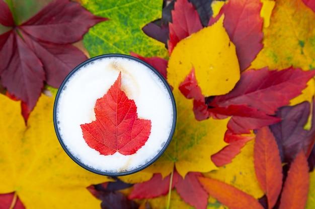 Lay-out van cappuccino-koffiekopje op herfst achtergrond met gekleurde bladeren, textuur achtergrond