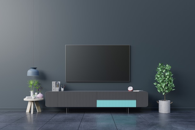 Led-tv op de donkere muur in de woonkamer