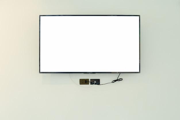 Led tv televisiescherm mockup / mock up, leeg op witte muur achtergrond