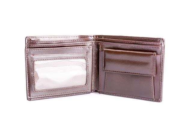 Lederen bruine portemonnee geïsoleerd op wit