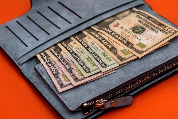 Lederen portemonnee met bankbiljetten van dollars