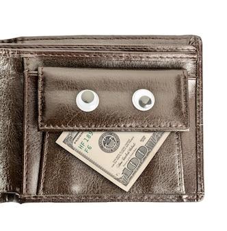 Lederen portemonnee met gezicht van dollars en ogen geïsoleerd op wit