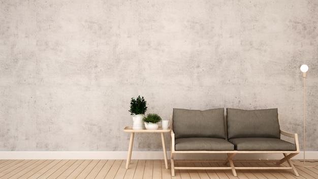 Leefruimte in coffeeshop of huis - 3d-rendering