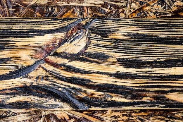 Leeftijd houtstructuur. borden zijn zwart en bruin. kunstmatig verouderd hout. diepe textuur. het concept van een oude boom.