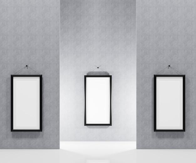 Leeg afbeeldingsframe dat aan de muur hangt om uw foto in te voegen. 3d render illustratie.