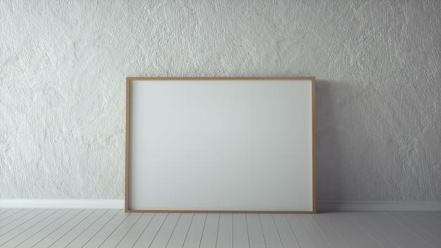 Leeg afbeeldingsframe en zonlicht op een muur. 3d-weergave.