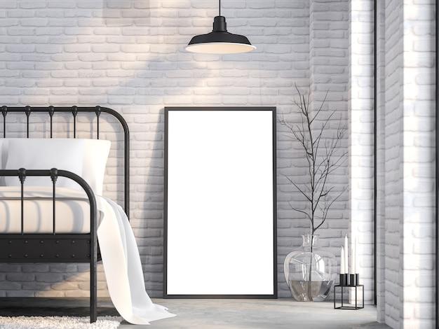 Leeg afbeeldingsframe in slaapkamer op de vliering 3d render witte bakstenen muur ingericht met zwart sreel bed