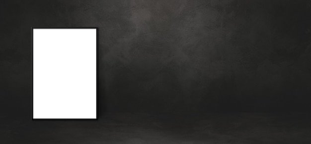 Leeg afbeeldingsframe leunend op een zwarte muur. presentatie mockup-sjabloon. horizontale banner