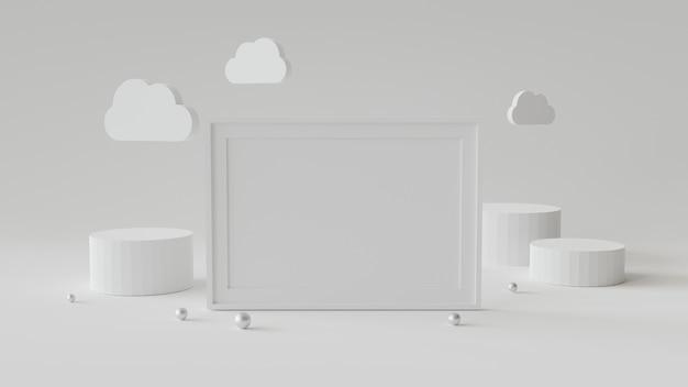 Leeg afbeeldingsframe met cilinder podium. abstracte geometrische achtergrond voor weergave of mockup. 3d-rendering.