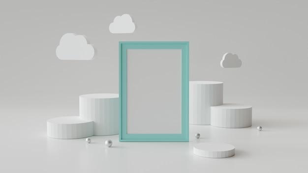 Leeg afbeeldingsframe met cilinder podium. abstracte geometrische achtergrond voor weergave of mockup.