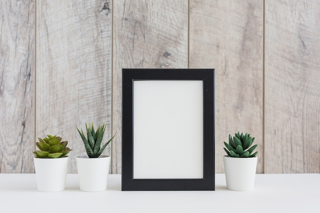 Leeg afbeeldingsframe met succulente installatie tegen houten muur
