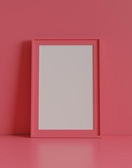Leeg afbeeldingsframe met tabel en muur achtergrond. 3d-rendering.